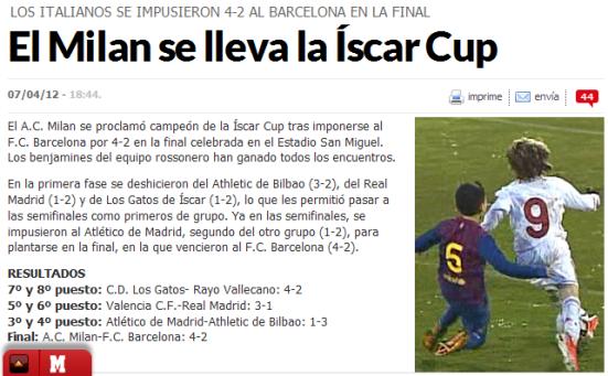 El Milan se lleva la Íscar Cup - MARCA_com